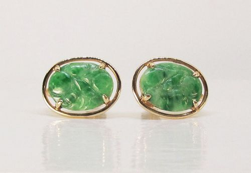 Carved Jade Earrings 14Kt Gold