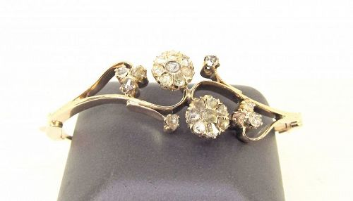 Rose Diamond Bangle Bracelet Victorian 10Kt Gold