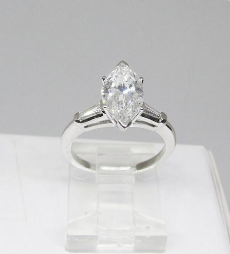 Engagement Ring, 1.65Ct Marquise Diamond, Platinum
