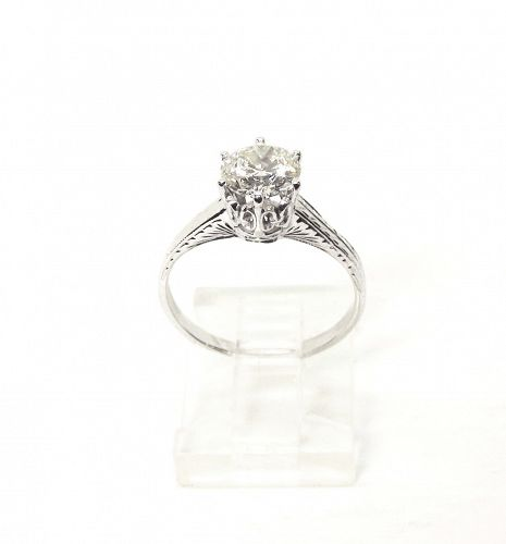 Engagement Ring Diamond Solitaire in 18Kt Setting, Antique