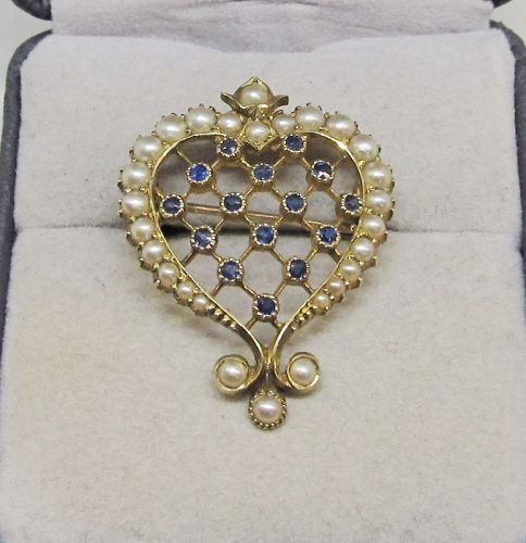 Victorian Sapphire and Oriental Pearl Heart Pin/Pendant 15Kt Gold
