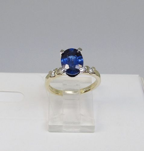 Kyanite and Diamond Ring 14Kt Two-Tone Gold