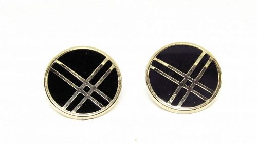 Onyx and 14Kt Yellow Gold Earrings