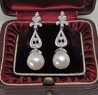 Diamond and Pearl Deco Style 14Kt Gold Earrings
