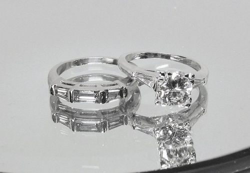 Engagement Ring Set, Diamond and Platinum