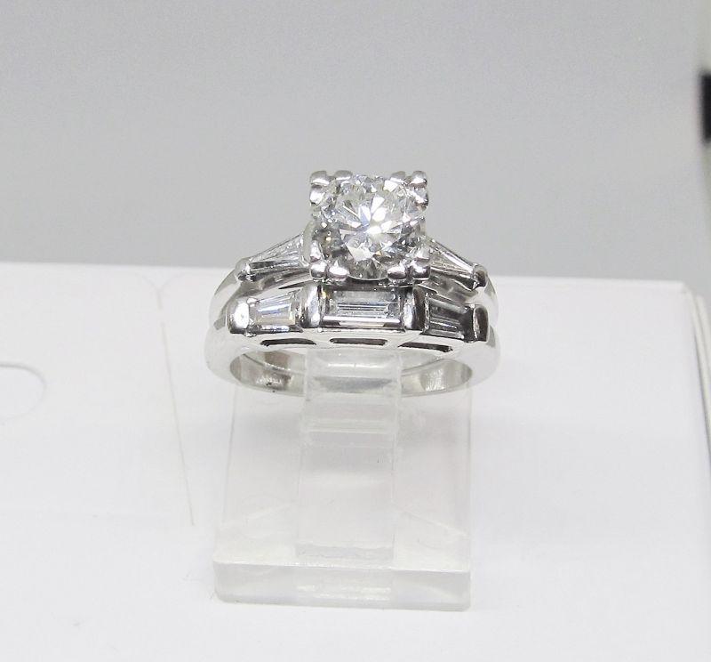 Engagement Ring Set, Diamond and Platinum