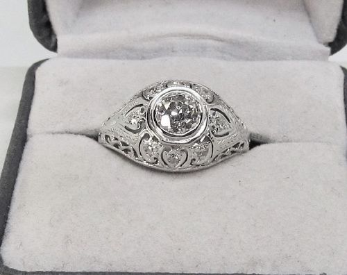 Diamond Ring 1920-s 18Kt White Gold Filigree