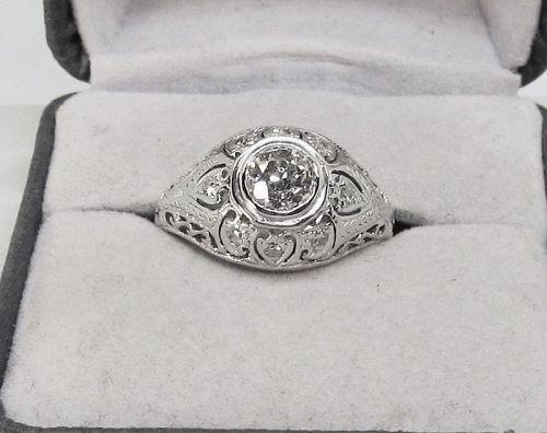 Diamond Ring 1920-s 18Kt White Gold Filigree