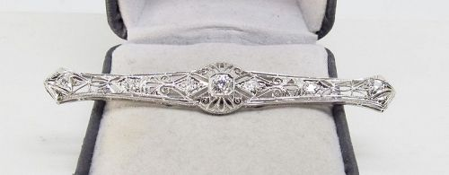 Antique Diamond Pin, Platinum, Filigree