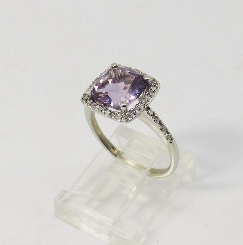 Amethyst Ring with Diamonds, 14Kt Gold