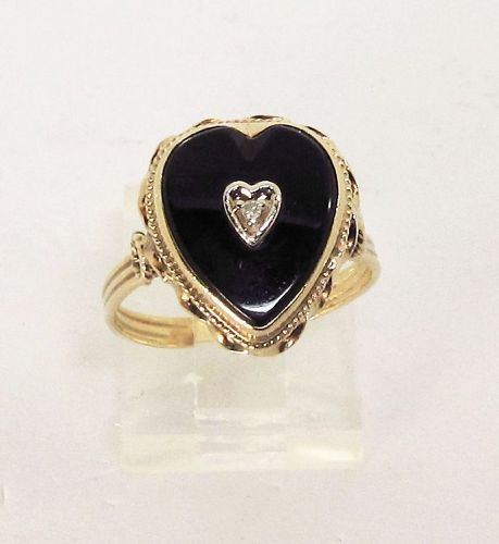 14Kt Yellow Gold Heart Shaped Onyx Ring with a Diamond