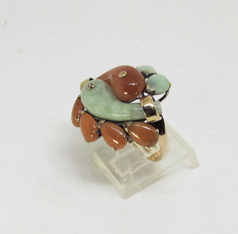 Jade Ring with Green and Butterscotch Colored Jade 14Kt Gold