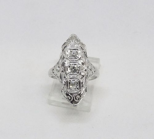 1920-s 18Kt White Gold Filigree and Diamond Dinner Ring
