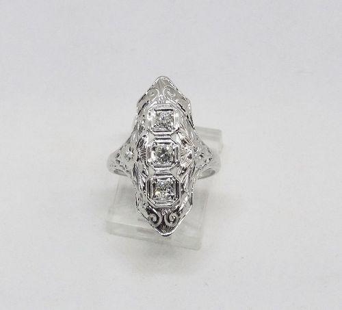 1920-s 18Kt White Gold Filigree and Diamond Dinner Ring