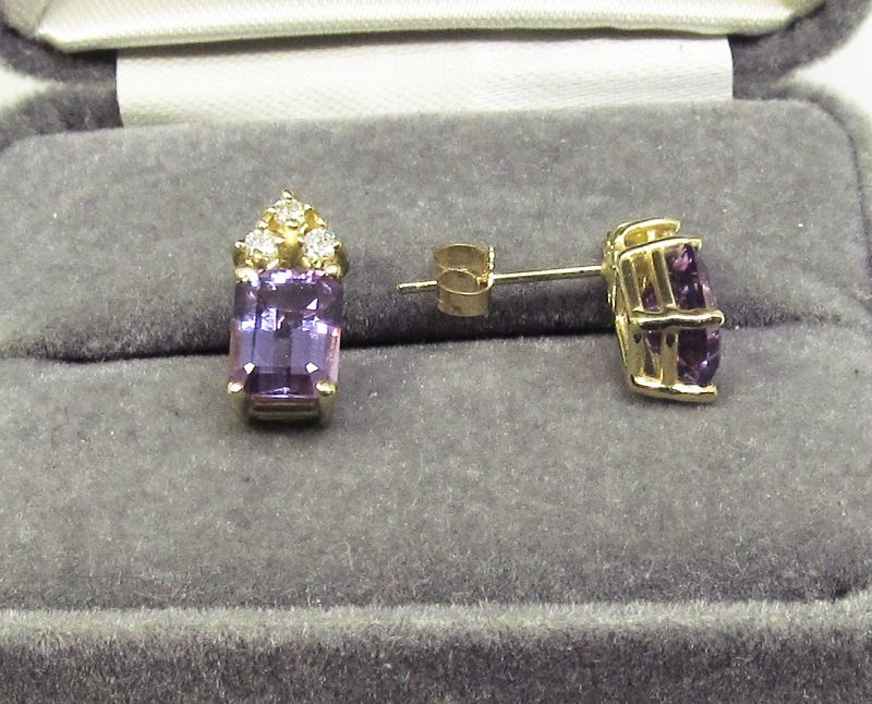 Amethyst and Diamond Earrings 14Kt Gold