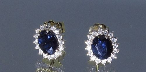 Sapphire and Diamond Earrings 14Kt Gold