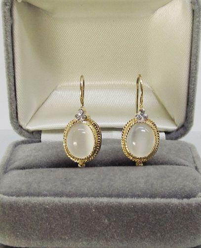 Moonstone and Diamond Earrings 14Kt Gold