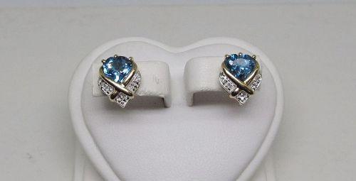 Heart Shaped Blue Topaz and Diamond Earrings 14Kt Gold