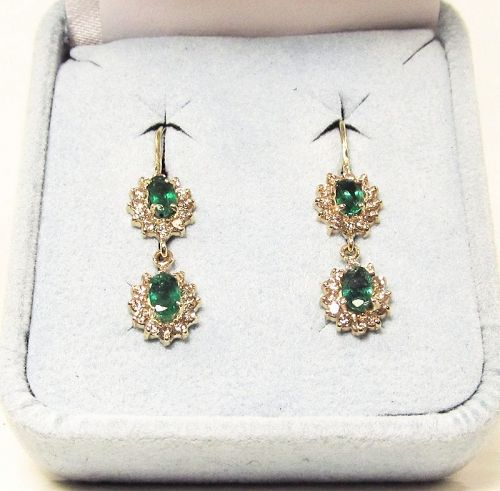 Emerald and Diamond Hanging Cluster earrings 14Kt Gold