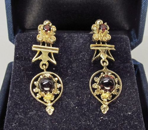 Victorian Revival Garnet Earrings 14Kt Gold