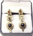 Victorian Revival Garnet Earrings 14Kt Gold