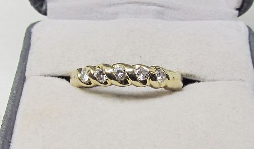 Diamond Band Set in 14Kt Yellow Gold with Five Diamonds on Top