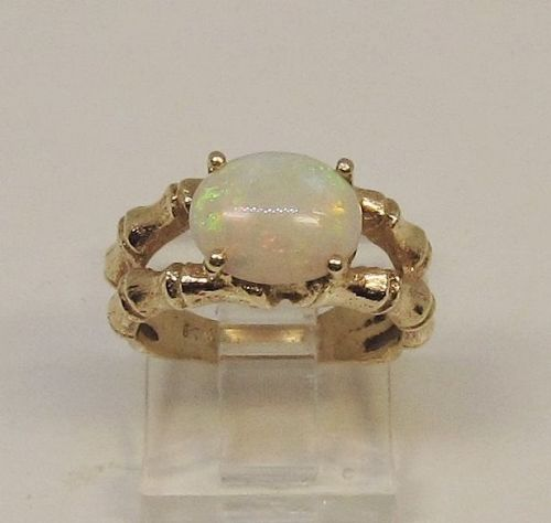 Opal Ring Set in 14Kt Gold �Bamboo� Setting
