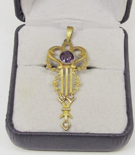 Victorian Amethyst and Seed Pearl Pendant 10Kt Gold