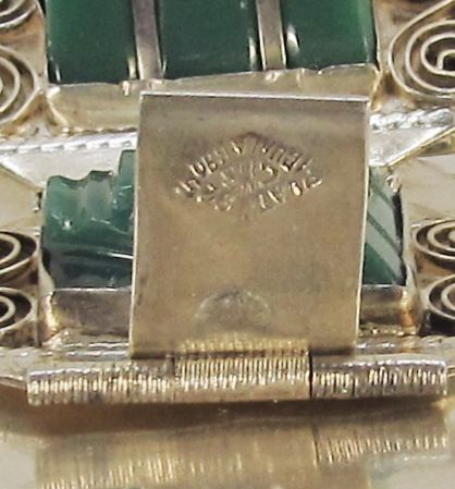 Vintage Sterling Silver and Green Onyx Mexican Bracelet