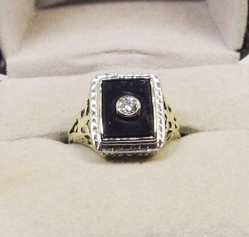 Onyx and Diamond Ring 14Kt Two Tone Gold 1920-s Antique