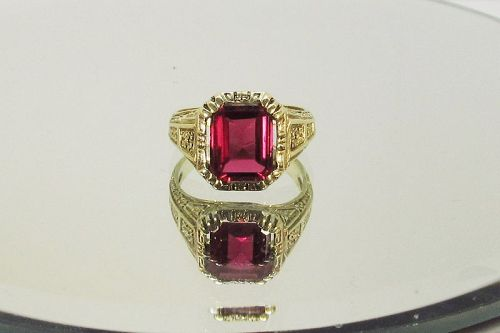 Arts and Crafts Period 14Kt Gold Ring Lab Created Ruby