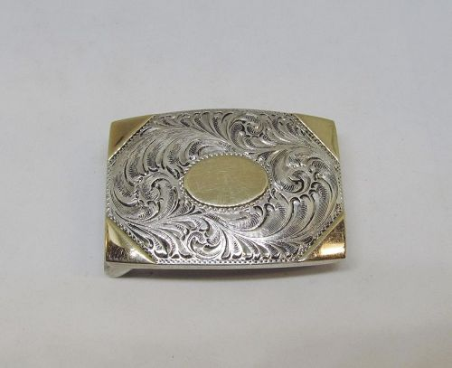 Douglas Magnus Sterling Silver and 14Kt Gold Western Belt Buckle