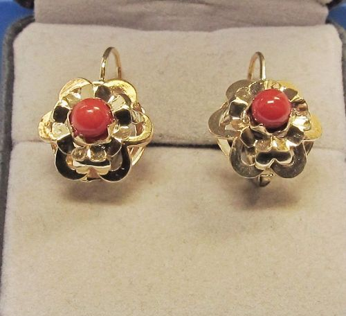 Coral Deep Red, 14Ky Gold Lever Back Earrings