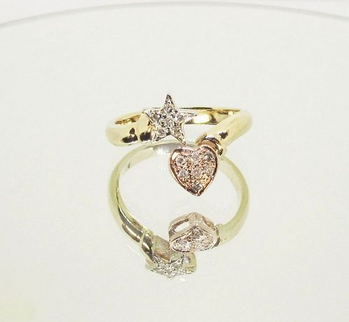 Heart and Star Diamond Ring 14Kt Tricolor Gold