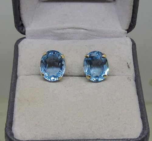 Blue Topaz Earrings 14Kt Yellow Gold