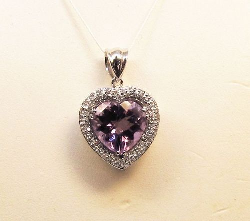 Heart Shaped Amethyst and Diamond Pendant 14Kt White Gold
