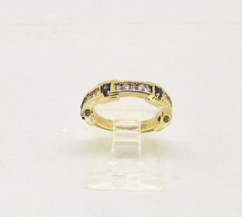 Diamond and Sapphire Band 14Kt Gold