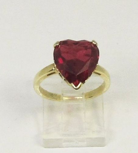 Ruby Heart Ring Synthetic 14Kt Gold