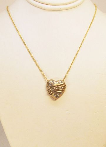 Diamond Heart necklace 14Kt Yellow Gold