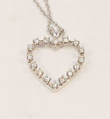 Diamond Heart 14Kt White Gold Open Heart