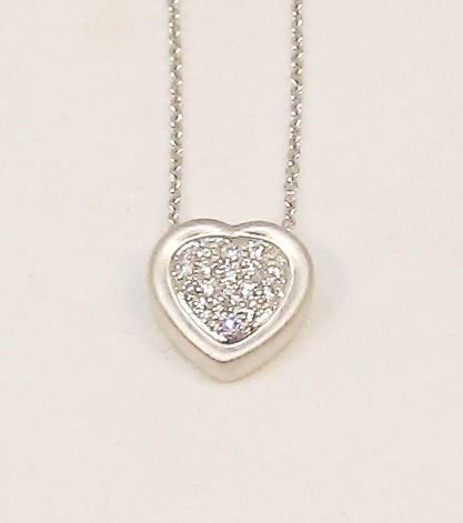 Diamond Heart 14Kt White Gold Pave Set