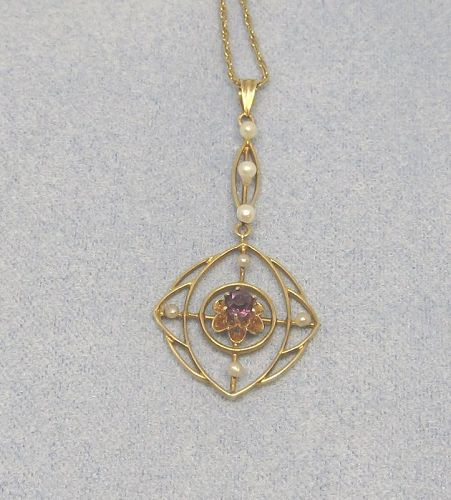 Art Nouveau Pendant 14Kt Gold Oriental Pearls and Amethyst