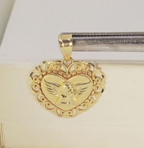Heart Shaped 14Kt Gold Guardian Angel Pendant