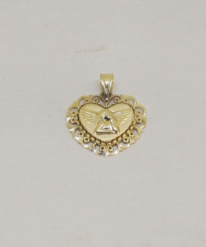 Heart Shaped 14Kt Gold Guardian Angel Pendant