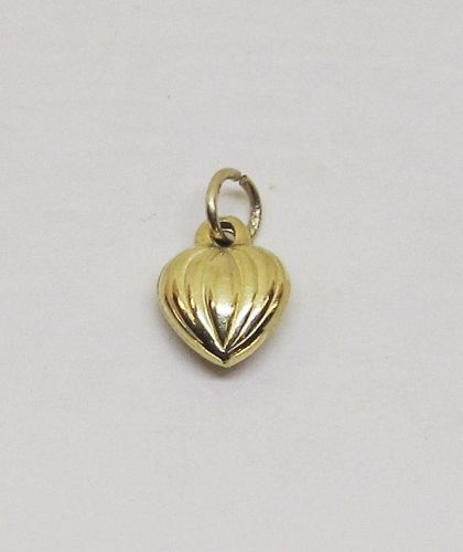 Puffed Heart Charm/Pendant 14Kt Yellow Gold