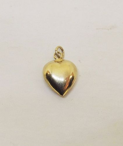 Puffed Heart Pendant/Charm 14Kt yellow Gold
