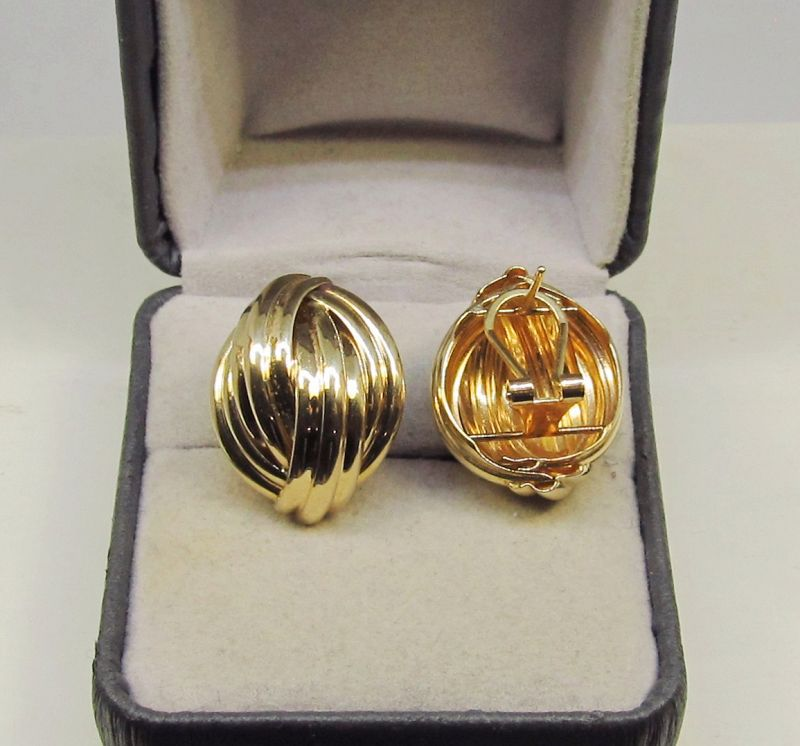 Fluted Dome Earrings with Posts and Omega Backs 14Kt Gold