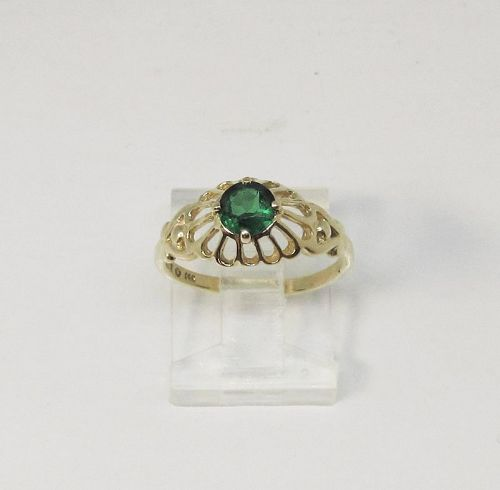 Flower Ring with Lab Created Emerald 14Kt Yellow Gold