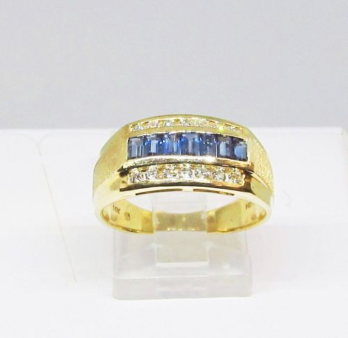 Sapphire and Diamond Ring/Band 14Kt Yellow Gold