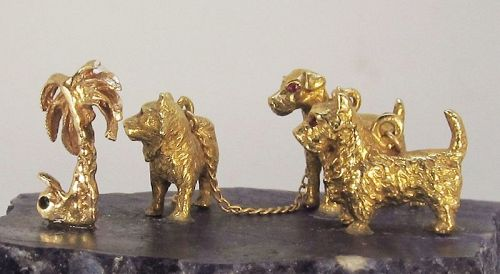 Dog Trio, 14Kt Gold Object D �Art Sodalite Base for Dog Lovers